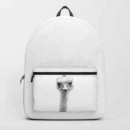 Black and White Ostrich Illustration Backpack