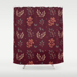 RED MERLOT FLORAL FALL Shower Curtain