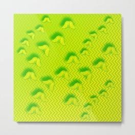 Camouflaged butterflies in green Metal Print