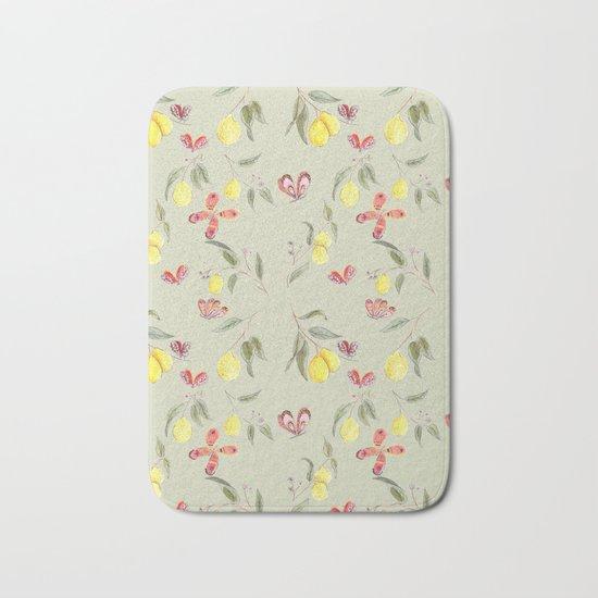 Lemons and Butterflies pattern Bath Mat