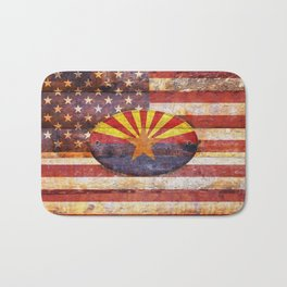 Arizona and USA flag on old wooden planks. Bath Mat