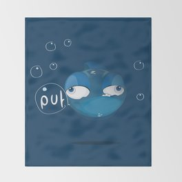Character collection saltwater fish puff Throw Blanket