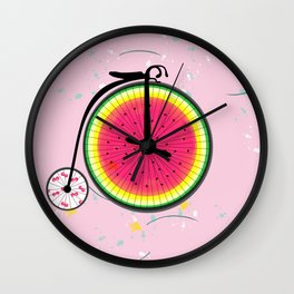 Vintage Bicycle Fruits Wheels Design Wall Clock