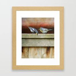 Two Warblers on The Fence Framed Art Print