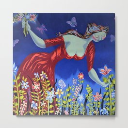 Le bouquet; lady in red picking wildflowers floral masterpiece painting by Marc Saint-Saëns Metal Print