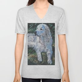 Hungarian Kuvasz dog art from an original painting by L.A.Shepard Unisex V-Neck