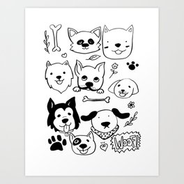 Doggy Doodles Art Print