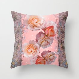 Peach Roses Throw Pillow
