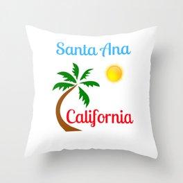 Santa Ana California Palm Tree and Sun Throw Pillow