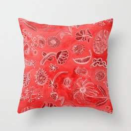 Botanicals in Cherry Red Throw Pillow