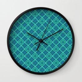 DeMEDICI emerald green royal blue repeat seamless pattern Wall Clock