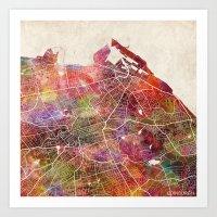 edinburgh Art Prints featuring Edinburgh by MapMapMaps.Watercolors