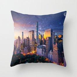 New York City - Fantasy Sunset Throw Pillow