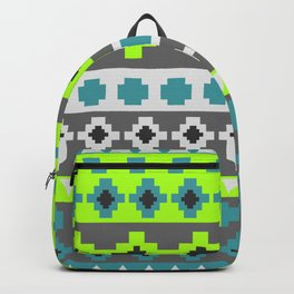 Bright tribal stripes in green and blue Backpack