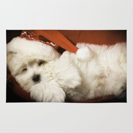Sleepy Santa Puppy Rug