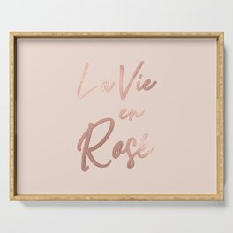 La Vie en Rose French Quote Rose Gold Pink Serving Tray