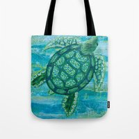 sea turtle Tote Bags featuring turtle by Brittany Rae
