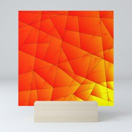 Bright yellow pattern of red triangles and irregularly shaped lines. Mini Art Print