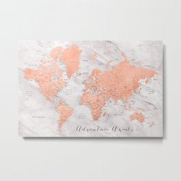"Adventure awaits world map in rose gold and marble, ""Janine"" Metal Print"