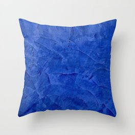 Dark Blue Ombre Burnished Stucco - Faux Finishes - Venetian Plaster Throw Pillow