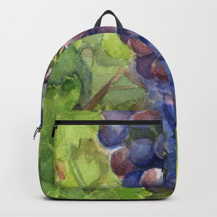 Grapes Watercolor Fruit Food Wine Lovers Backpack