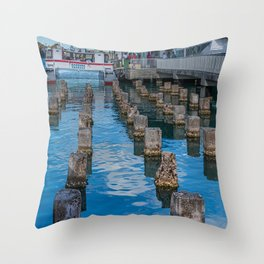 Old Pilings into Barbuda Express Throw Pillow