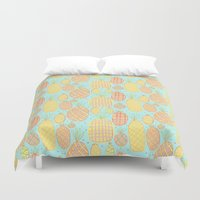 pineapples Duvet Covers featuring Pineapples by stephstilwell