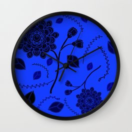 Flying Flowers in yellow Wall Clock