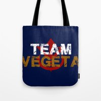 vegeta Tote Bags featuring Team Vegeta by AJF89