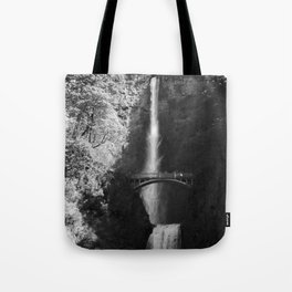 Multnomah Falls Oregon Waterfall Black and White Tote Bag