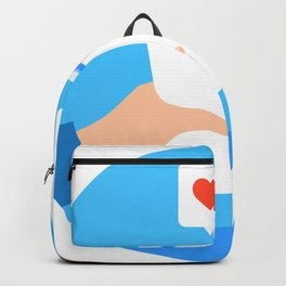 An arm give a cup of water to a child with love. Backpack