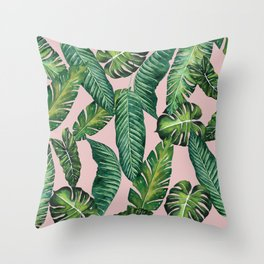 Jungle Leaves, Banana, Monstera II Pink #society6 Throw Pillow