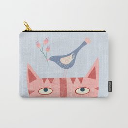 Cat, bird and flower Carry-All Pouch