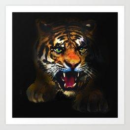 tiger in the dark Art Print