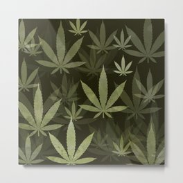 Marijuana Cannabis Weed Pot Leaves Metal Print