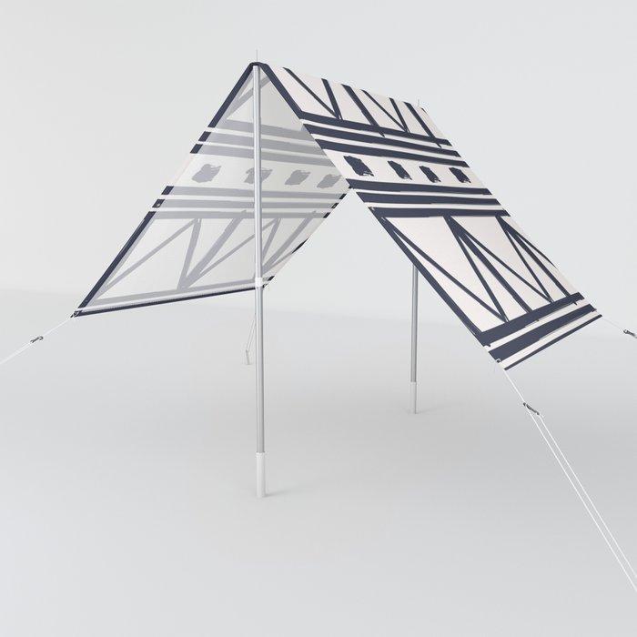 Brush Stroke Minimal 12 - Abstract Pattern Shapes Modern Mid Century Texture Navy Beige. Gift idea Home deco Sun Shade