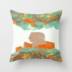 Old man in flowers  Throw Pillow