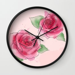 Rose Watercolor Wall Clock