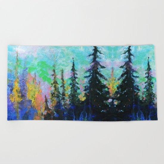 Blue Spruce Island Abstract Art Beach Towel