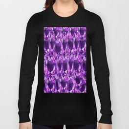 February Babies Purple Amethyst Gems Abstract Long Sleeve T-shirt