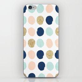 Wren - Pastel Brush Stroke Minimal Dots with glitter  iPhone Skin