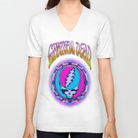 grateful dead V-neck T-shirts featuring Grateful Dead #11 Optical Illusion Psychedelic Design by CAP Artwork & Design