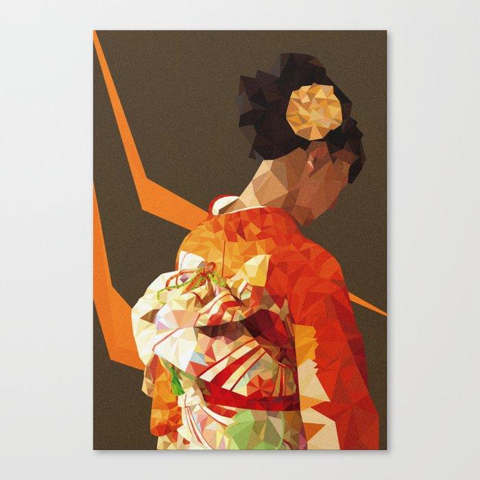 Polygonal kimono girl Canvas Print