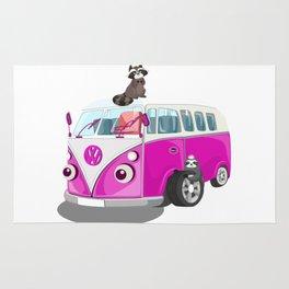 Cute pink bus Rug