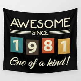Awesome Since 1981 Retro 40th Birthday Wall Tapestry