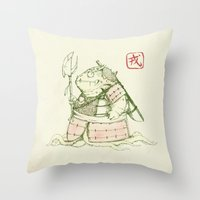 warrior Throw Pillows featuring Warrior by pigboom el crapo