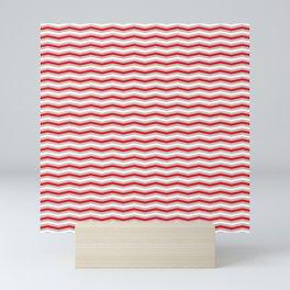 Red Silver and White Christmas Wavy Chevron Stripes Mini Art Print