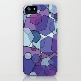 Converging Hexes - purple and blue iPhone Case