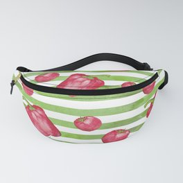 Red Bell Peppers on Green Stripes Fanny Pack
