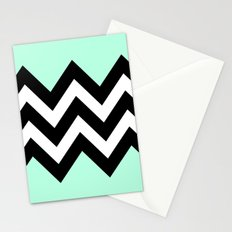 DOUBLE COLORBLOCK CHEVRON {MINT/BLACK} Stationery Cards